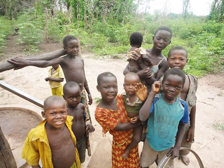 South Sudanese kids standing in field