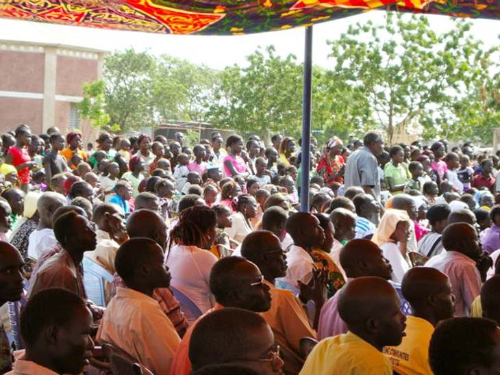 Malakai people at outdoor mass in South Sudan