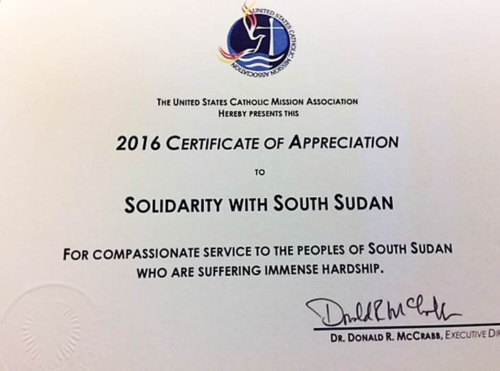 Solidarity with South Sudan Certificate of Appreciation